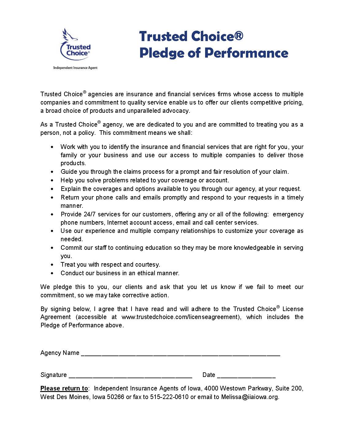 Information & Membership - Trusted Choice Pledge of Performance